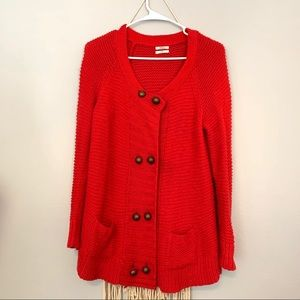 """Madewell """"Wallace"""" Red Chunky Knit Cardigan"""